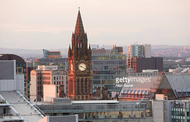 skyline of deansgate at dusk - manchester uk stock photos and pictures