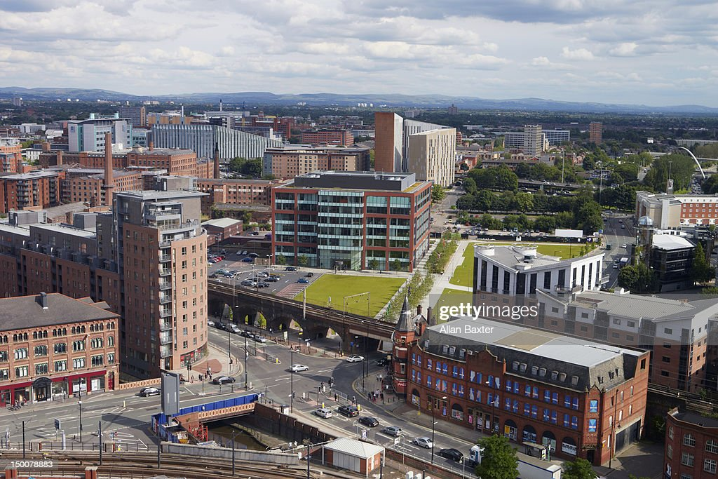 Skyline of Deansgate at midday : Stock Photo