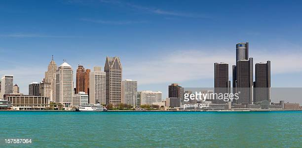 skyline of detroit by day - detroit river stock pictures, royalty-free photos & images