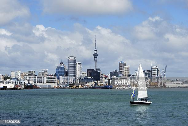 Skyline of downtown Auckland and sailing vessels Auckland New Zealand