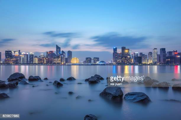 Skyline Of Downtown CBD By the Qiantang River At Dusk,China