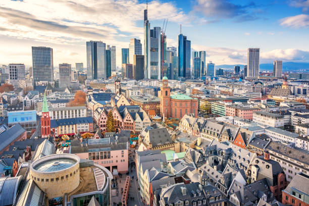 skyline of downtown frankfurt am main germany - germany stock pictures, royalty-free photos & images