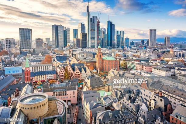 skyline of downtown frankfurt am main germany - frankfurt stock pictures, royalty-free photos & images