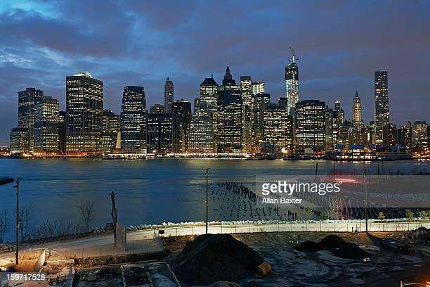 Skyline of Downtown Manhattan at night