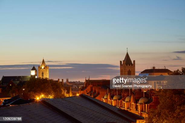 skyline of dublin city, ireland at night - ireland stock pictures, royalty-free photos & images