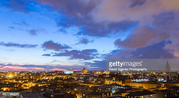 Skyline of Dublin City, Ireland at night