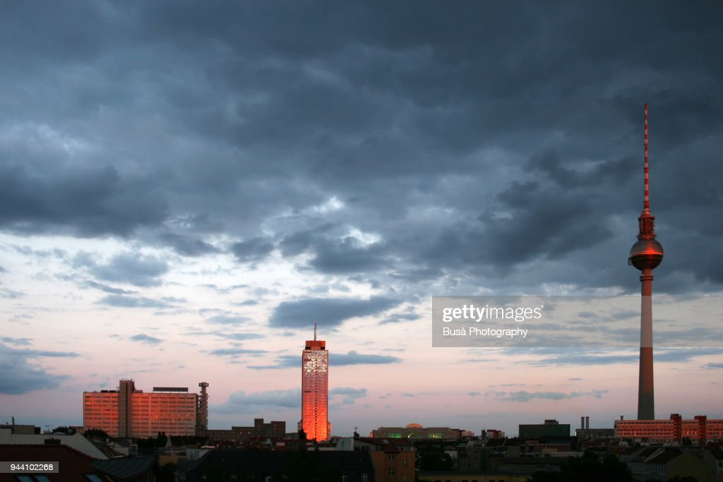 skyline of east berlin with the famous berlin fernsehturm stock foto getty images. Black Bedroom Furniture Sets. Home Design Ideas