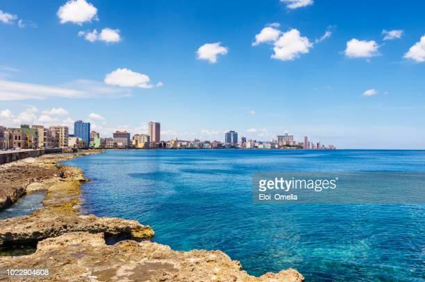 skyline of El Malecon in la Havana. Cuba