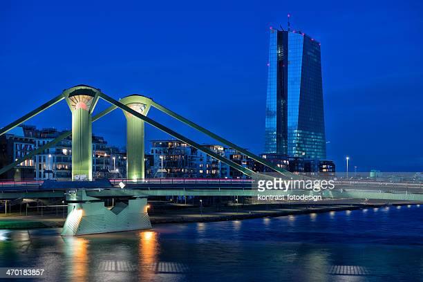 Skyline, EZB, Banca centrale europea, la Banca centrale europea, Francoforte, fiume Meno, Germania