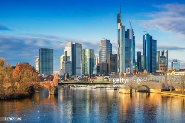 skyline of frankfurt am main germany - hesse germany stock pictures, royalty-free photos & images