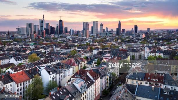 Skyline of Frankfurt at dusk, aerial view
