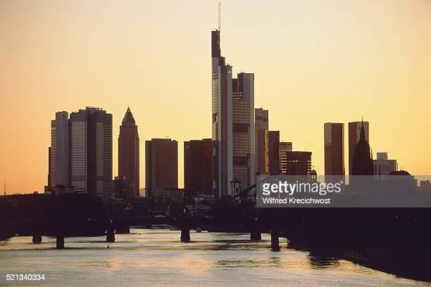 Skyline of Frankfurt/Main in the evening light, Germany