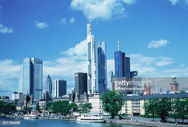 Skyline of Frankfurt/Main with Main and excursion boats, Germany