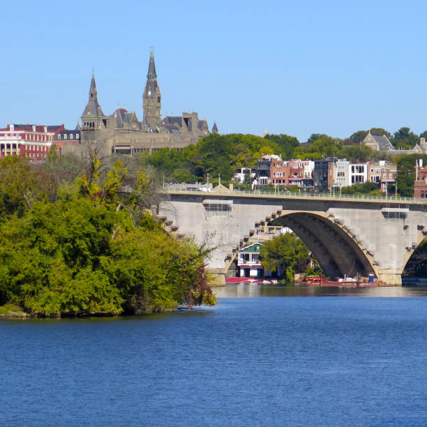 Skyline of Georgetown including the Key Bridge from the Potomac River, Georgetown, Washington DC