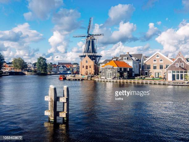 Skyline of Haarlem, Netherlands, with a classical windmill.