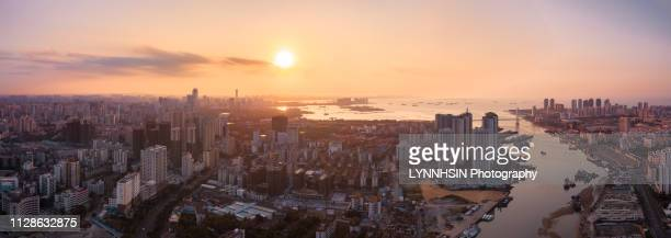 skyline of haikou city aerial view - lynnhsin stock pictures, royalty-free photos & images