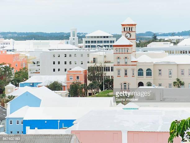 skyline of hamilton, bermuda - bermuda stock pictures, royalty-free photos & images