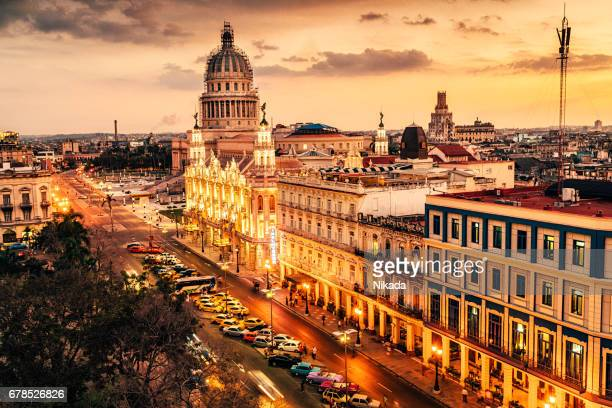 Skyline of Havana with Capitol building at dusk