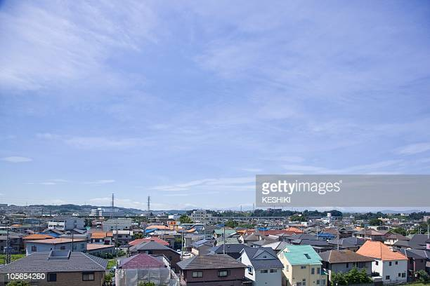Skyline of Hino City, Tokyo Prefecture, Honshu, Japan