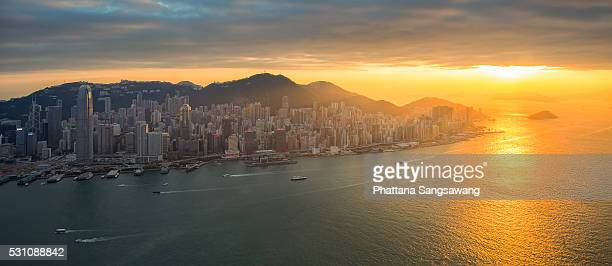 Skyline of Hong Kong at sunset from Sky 100