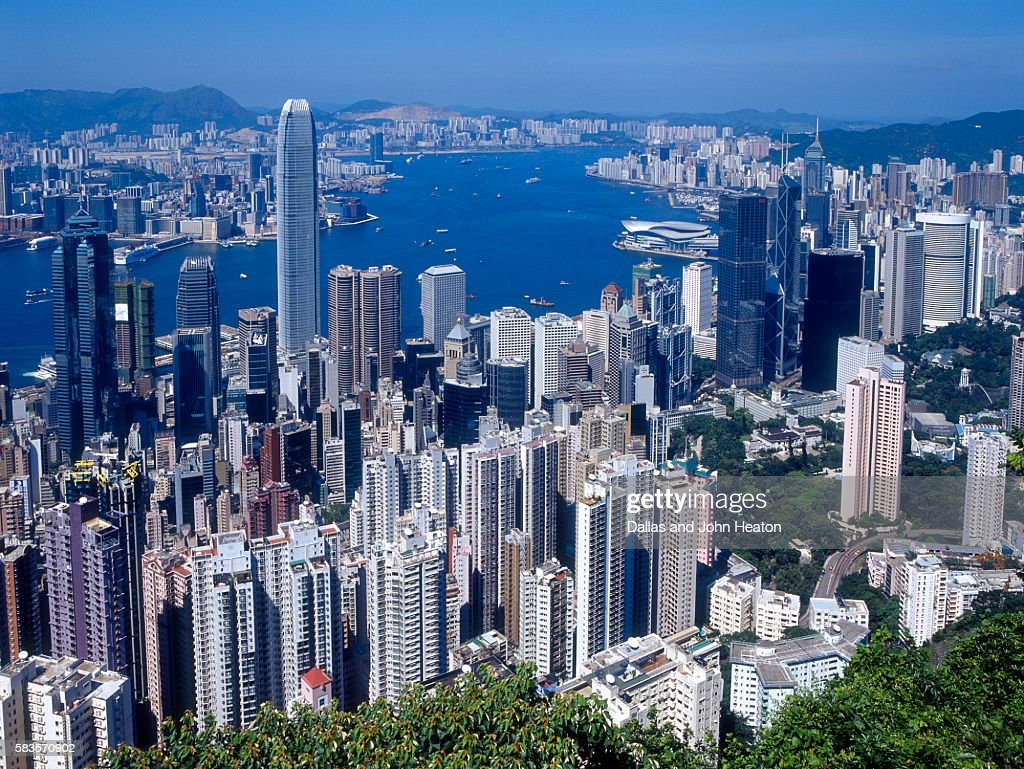 Skyline of Hong Kong seen from Victoria Peak, China : Stock Photo
