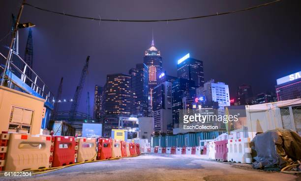 Skyline of Hong Kong with construction site in front