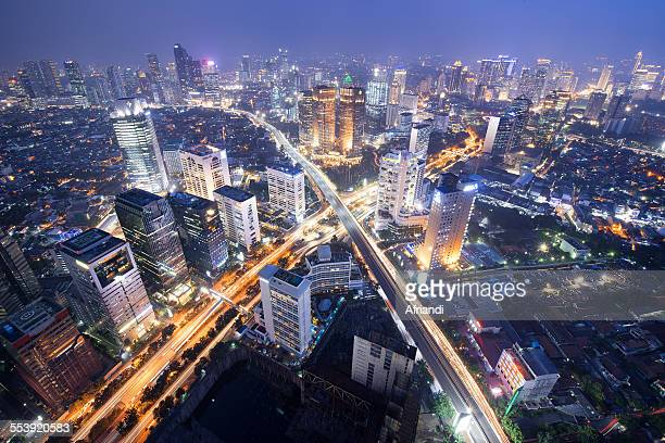 skyline of jakarta - jakarta stock pictures, royalty-free photos & images
