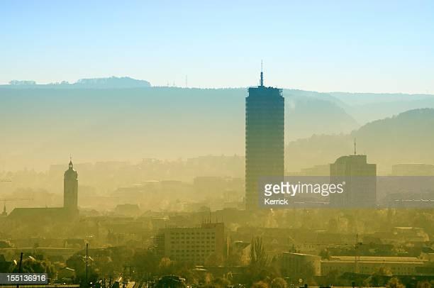 Skyline von Jena/Deutschland im dusty Morgen