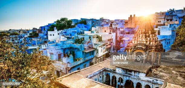 skyline of jodhpur the blue city of india at sunset - jodhpur stock pictures, royalty-free photos & images