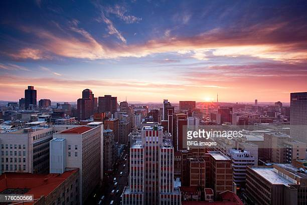Skyline of Johannesburg city center, Johannesburg, Gauteng Province, South Africa