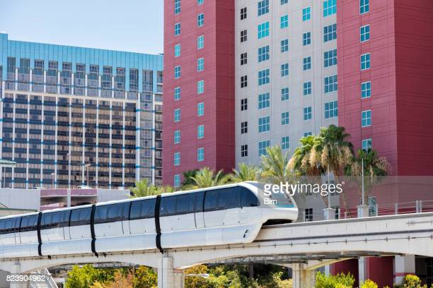 skyline of las vegas, nevada, usa - monorail stock pictures, royalty-free photos & images