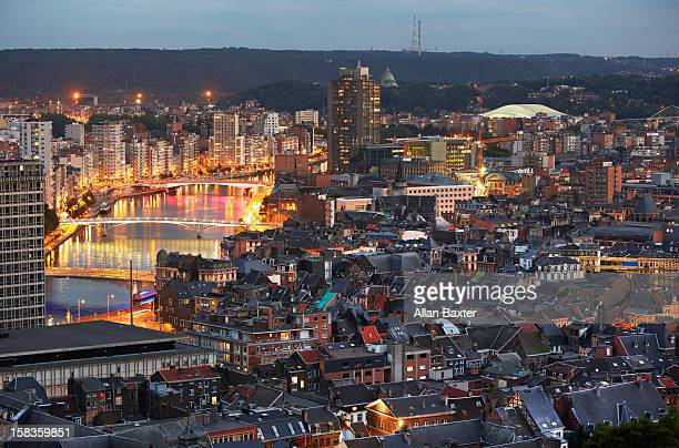 skyline of liege and neuse river - liege stock pictures, royalty-free photos & images