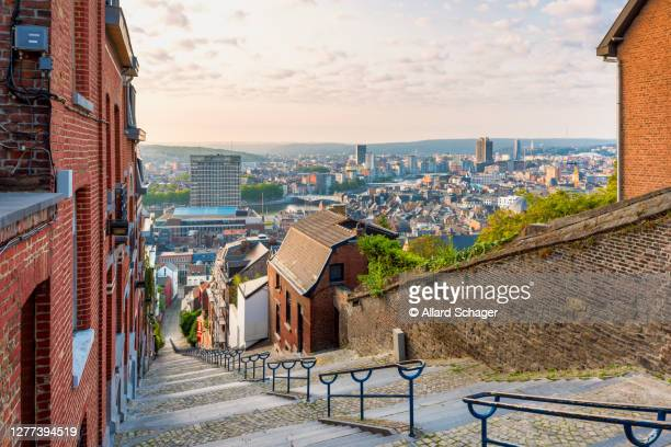 skyline of liege belgium from top of staircase - liege stock pictures, royalty-free photos & images