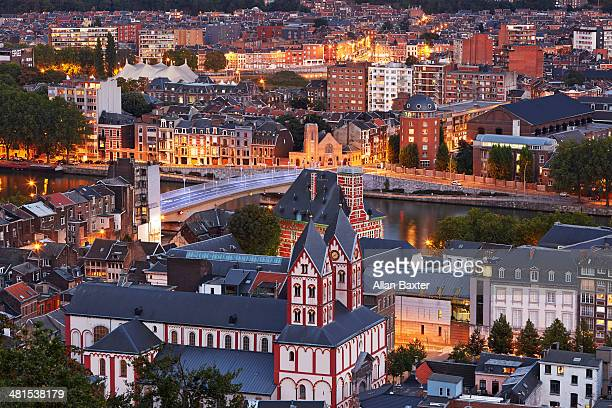 skyline of liege illuminated at dusk - liege province stock pictures, royalty-free photos & images