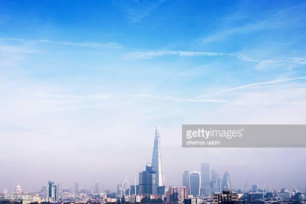 Skyline of London on a misty day