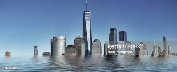 skyline of lower manhattan (new york city) as seen from paulus hook in new jersey, usa - world financial center new york city stock pictures, royalty-free photos & images