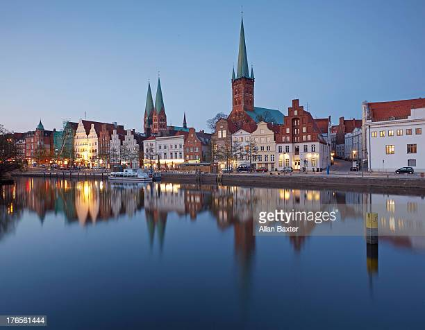 Skyline of Lubeck at dusk