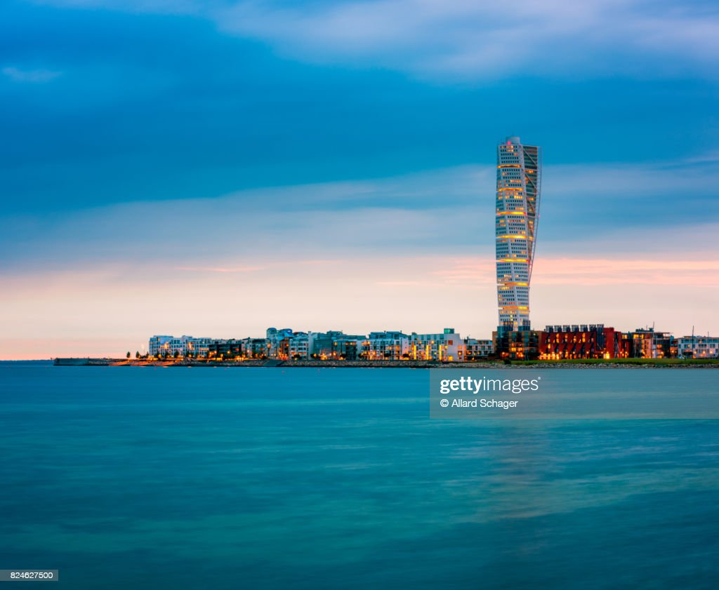 Skyline of Malmo Sweden with Famous Turning Torso Building : Stock Photo