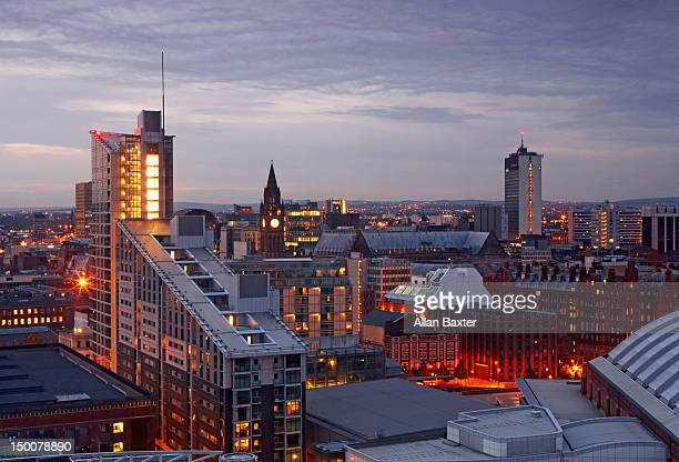 Skyline of Manchester at sunset