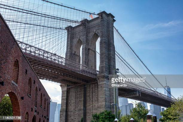 skyline of manhattan from the brooklyn bridge park - brooklyn bridge stock pictures, royalty-free photos & images