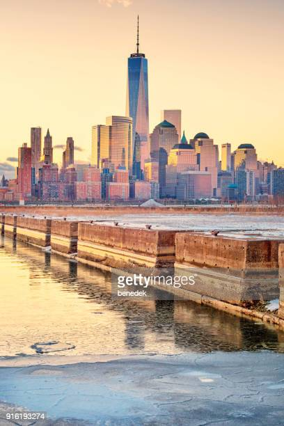Skyline of Manhattan New York City as seen from Newport Jersey City during sunrise