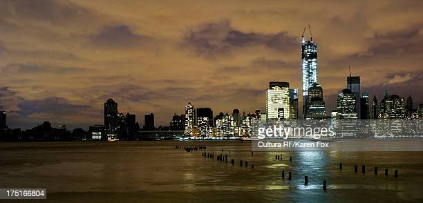 skyline of manhattan, power outage after hurricane sandy, new york city, usa - lower manhattan stock photos and pictures