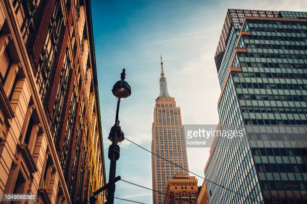 skyline of midtown manhattan with distant view of empire state building - empire state building stock pictures, royalty-free photos & images