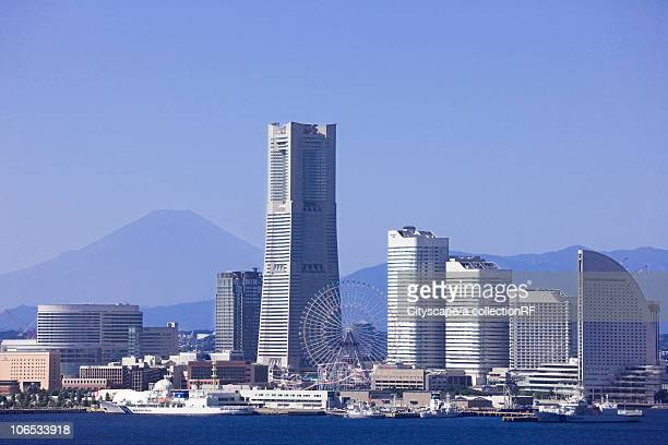 Skyline of Minatomirai, Yokohama City and Mt. Fuji, Kanagawa Prefecture, Honshu, Japan