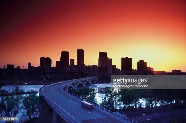 Skyline of Minneapolis at dusk, Minnesota, USA