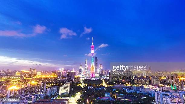 skyline of modern city with sunset in guangzhou