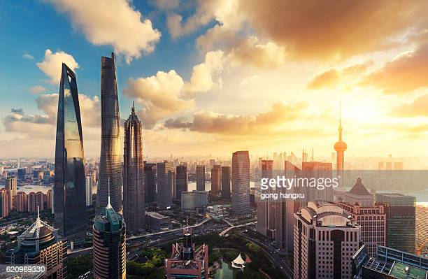 skyline of modern city with sunset in shanghai