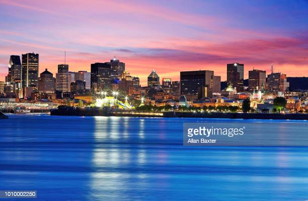 Skyline of Montreal illuminated at dusk