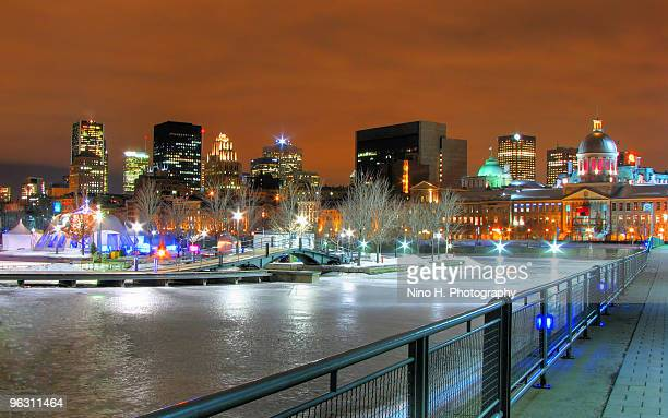 Skyline of Montreal in winter night