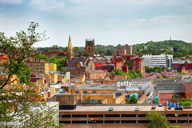 skyline of nottingham, nottinghamshire, england - nottingham stock photos and pictures